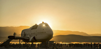 Sunset over Boeing 747 Jumbo