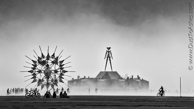 Black and White Burning man Photo