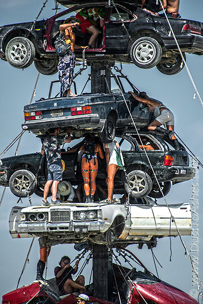 Junk cars art sculpture