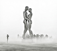Man and woman in dust storm