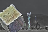 Cube and Vortex art sculpture