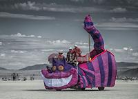 Pink Cheshire cat art car